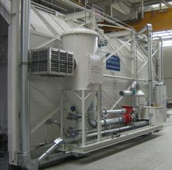 Filterzentrale einer GFK Schleifkabine mit gefahrloser Druckentlastung in den Arbeitsraum gemäß ATEX