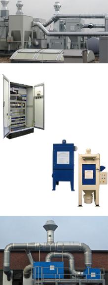 Produkte oben: Edelstahlschweißrauchabsauganlage, Mitte links: Schaltschrank, Mitte rechts: Standardisierte Kleinserien, unten: Ölnebelabscheider mit Raumabsaugung